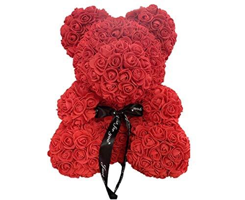 SANTORI 40cm Blumenbär mit Herz Bär aus Rosen für Valentinstag Geburtstag Jahrestag Infinity Rosebear Flower Teddy Teddybär Teddy für Freundin Geschenk Muttertag
