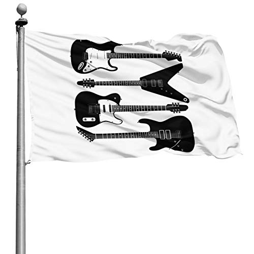 houqizhixiu Black and White Electrical Guitars in 4 6 String Instruments 4X6 Home House Flags,Outdoor Flag Feet Home Decoration,Holiday Decorations, Outdoor Decoration Banner
