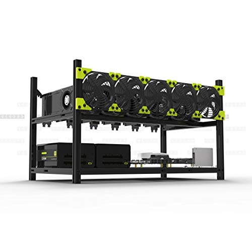 Sinobright Mining Rig Frame with 5 Fans, 6 GPU Steel Open Air Miner Mining Computer Frame Rig Case for ETHETCZECBTCBitcoinEthereumDogecoin(6GPU-V3C+5Fans)
