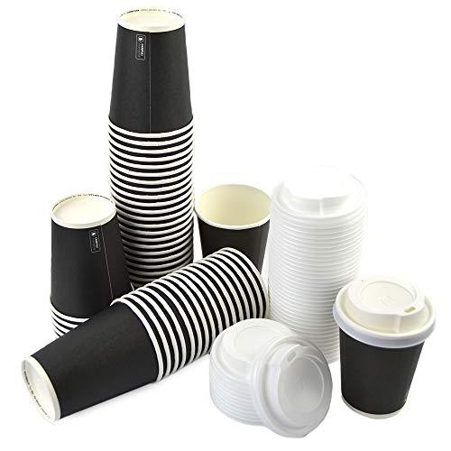 DUE ESSE S.N.C. DI SABATINI ALDO & C. PZ 100 Bicchiere Nero 9OZ (266 ML) in Carta Alto 9,5 X Diametro 7,5 + COPERCHIBIANCHI Ideale per Bevande Calde Come Caffe, Cappuccino E Cioccolata
