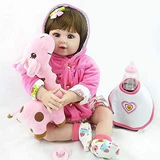 Kaydora Reborn Baby Doll 22 Inch Lifelike Baby Reborn Girl Huggable Soft Body Toddler Doll with A Cute Giraffe