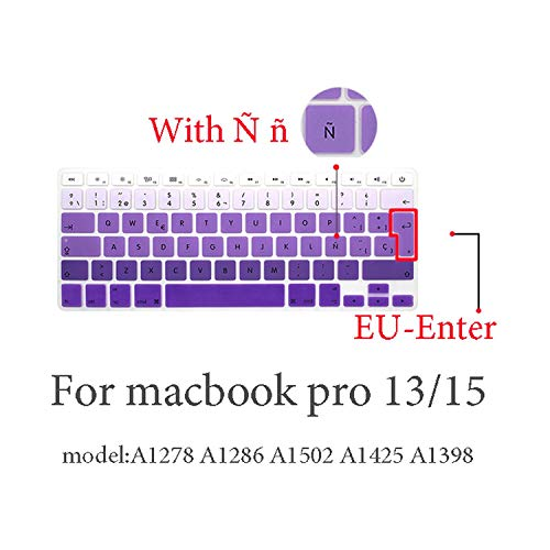 Spanish Keyboard Protective Film for Mac Book pro 13 A2159 pro13 Retina air A1466 A1708A1989A1932 EU Key Silicone Keyboard Cover-pro13 15 (2009-2015) 1-
