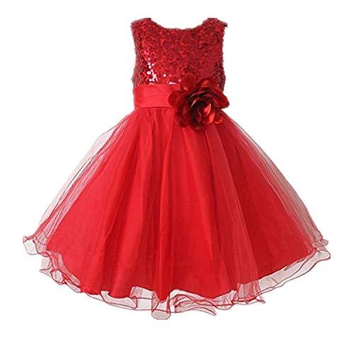Live it estilo it ni̱a con lentejuelas vestido flor princesa sin mangas formal boda fiesta dama Rojo rosso 9-10...