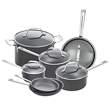 Emeril Lagasse 62920 Dishwasher safe Nonstick Hard Anodized 12 Piece Cookware Set ,Gray
