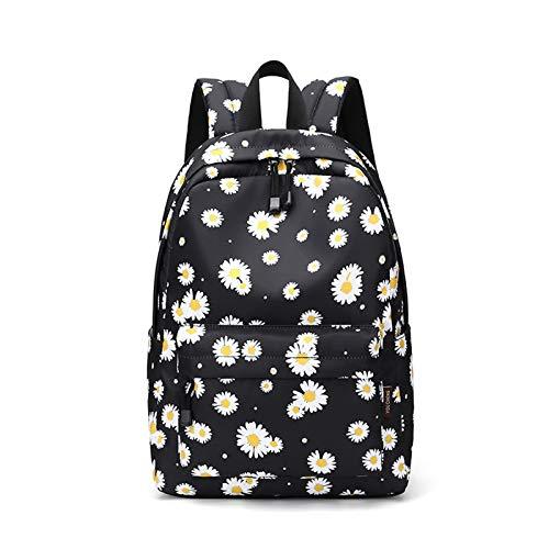 Joymoze Wasserfester süßer bedruckter Schulrucksack für Mädchen I Geräumiger Rucksack für Damen schwarz Daisy