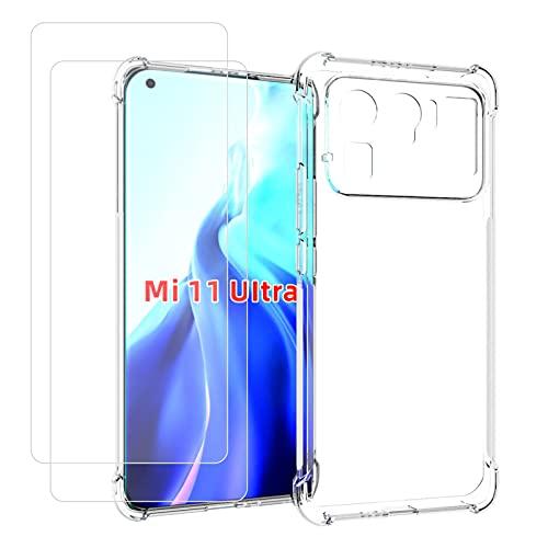 TLING Hülle für Xiaomi Mi11Ultra5G + 2X Panzerglas, TPU Silikon Stoßfest Backcover Hüllen Air Cushion Bumper Schutzhülle für Xiaomi Mi11Ultra5G, Transparent