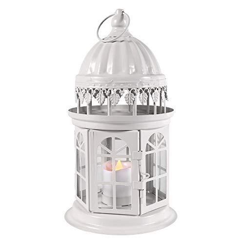 QHYK Lanterne a Candela Decorative, Lanterna Metallo con Candela a LED Senza Fiamma, Decorazioni per Interni ed Esterni Illuminazione, Bianca