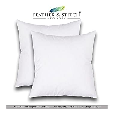 Set of 2- 18 x18 Premium Hypoallergenic Stuffer Pillow Insert Sham Square Form Polyester, Standard / White by Feather & Stitch
