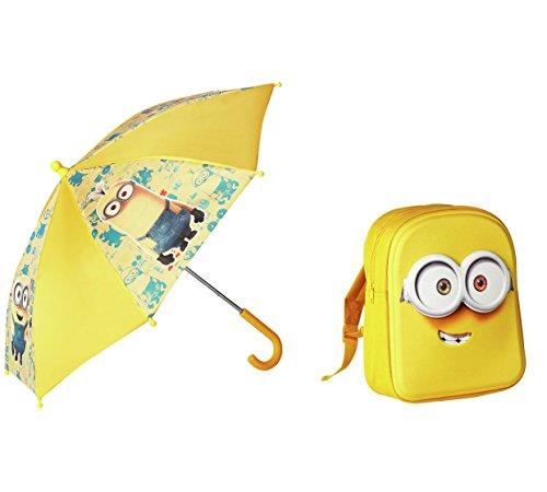 Pack mochila + paraguas amarillo.