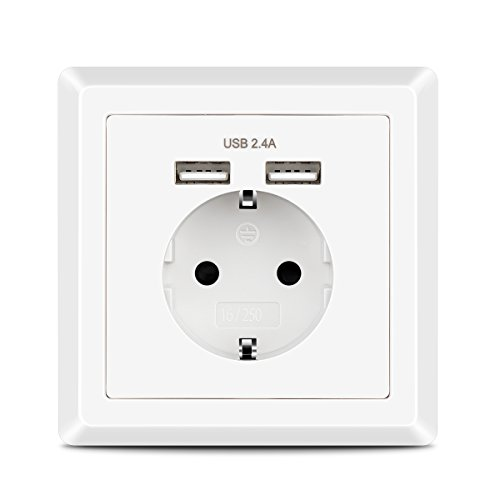Enchufe Pared USB 2.4A Kaifire Schuko Toma de Corriente con 2 USB Conectors Color Blanco, Cargador para Smartphone Tableta MP3