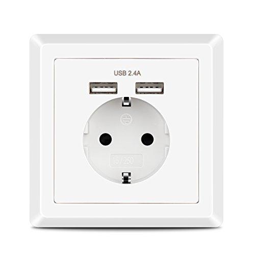 Enchufe Pared USB 2.4A Kaifire Schuko Toma de Corriente con 2 USB Conectors Color Blanco, Cargador para Smartphone Tableta MP3