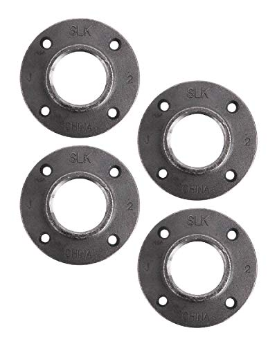 "Pipe Décor 2"" Malleable Cast Iron Floor Flange 4 Pack, Industrial Steel Grey Fits Standard 2 Inch Threaded Black Pipes and Fittings, Vintage DIY Table, Four Real Heavy Duty Plumbing Flanges"