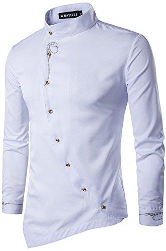 WHATLEES Herren lang Geschnittenes Hemd mit asymmetrisches und aufgesticktes Design, B404-white, XXL