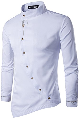 WHATLEES Herren urban Basic Barock Hemd mit Rose Blumen aufgesticktem Design B404-White-L B404-White-L-new