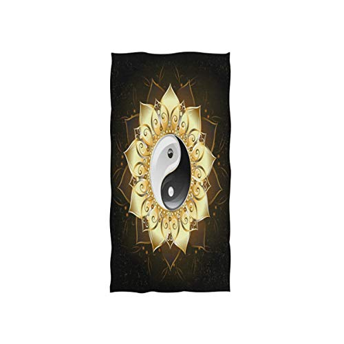 Mnsruu Chinesische Yin Yang Lotus Blume Weiches Bad Hotel Spa Hand Gym Sport Handtuch 76 x 38 cm (30 x 15 Zoll)