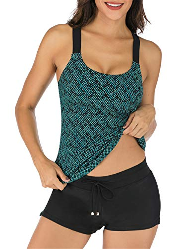 PANAX Damen Tankini Oberteil Bademode Badeanzug Strand Swimwear Badesuits Mode Beachwear Dunkelgrün, Größe M
