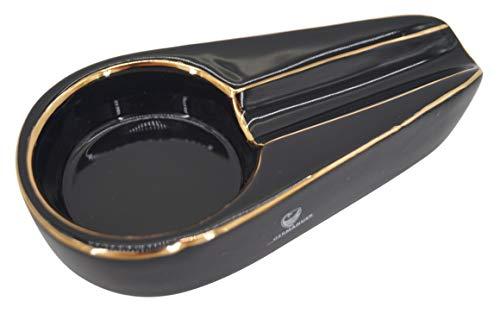 GERMANUS Cera Aschenbecher für Zigarren, schwarz