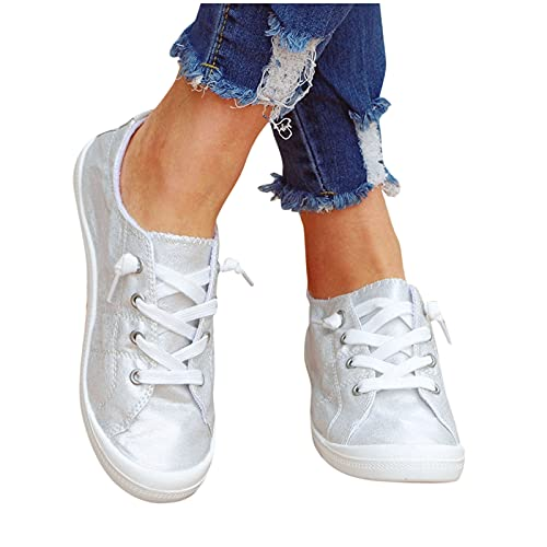 Xiangdanful Zapatillas deportivas para mujer, ligeras, cómodas, zapatillas de deporte, para el verano, para el tiempo libre, de malla, para correr, para hacer deporte, plata, 38