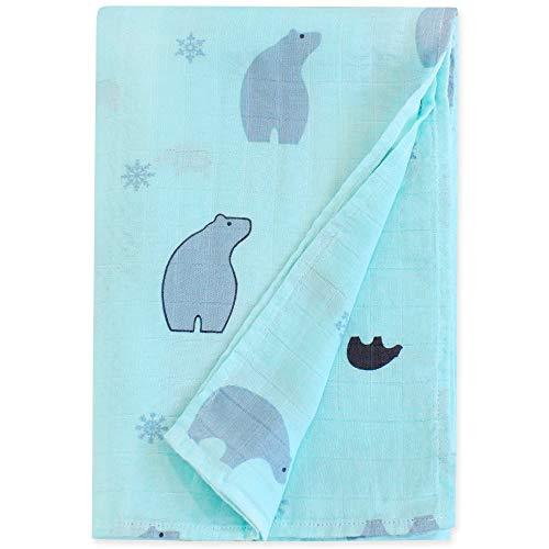 LifeTree Musselin Swaddle Baby Decke, 120x120cm Sommer Weichen Musselin Pucktücher, Bambus/Baumwolle Swaddle Wrap Aufstoßen Tuch für Junge und Mädchen