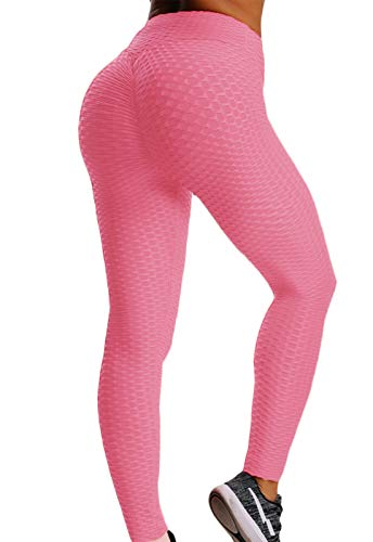FITTOO Leggings Push Up Mujer Mallas Pantalones Deportivos Alta Cintura Elásticos Yoga Fitness  Rosa S