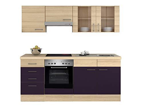Smart Möbel Küchenzeile 210 cm Aubergine/Akazie mit Herd & Spüle - Otto