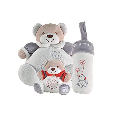 Tris & Ton Pack Regalo recién Nacido Peluche gordi (25cm), Osito portachupete y portabiberón Cesta Original niño niña (trisyton) (Gris)