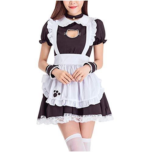 Hopoter Damen Maid Cosplay Kostüm Kleider Sexy Lolita Kleid Maid Dress mit Weißer Schürze und Kopfbedeckung Uniformen Abendkleid Party Festlich Karneval Kostüm (Weiß-01, XL)