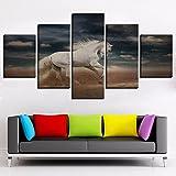 JINGMEI Canvas HD Picture 5 Combinación De Pared Desert White Horse Blue Sky Dormitorio Sala De Estar Habitación De Los Niños Cartel De Regalo Decoración De Arte De Pared