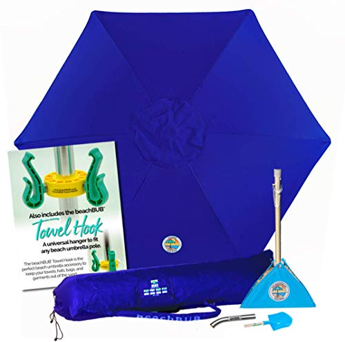 beachBUB ™ All-In-One Beach Umbrella System. Includes 7 ½' (50+ UPF) Umbrella, Oversize Bag, beachBUB ™ Base & Accessory Kit