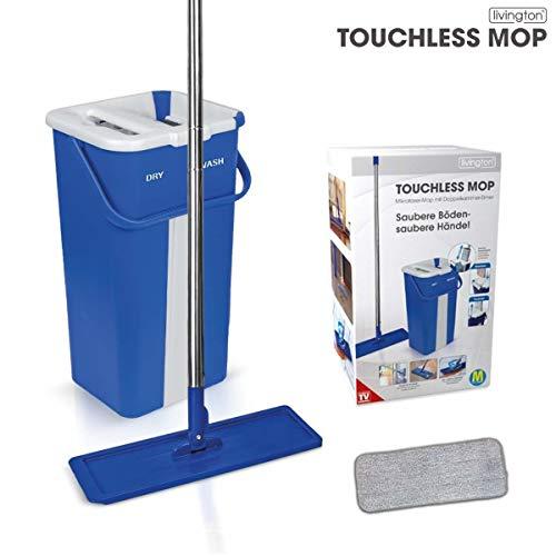 Livington Touchless Mop inkl. 2,7 Liter Doppelkammer-Eimer-System【 Selbstreinigungssystem 】für alle Arten von Böden | Fliesen | Parkett | Linoleum | Laminat | Das Original aus dem TV