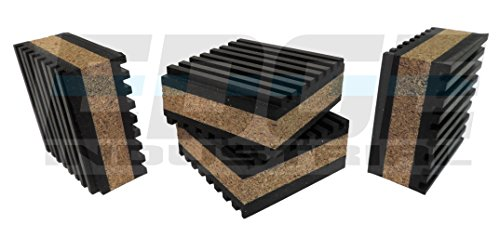 ANTI VIBRATION ISOLATION PADS 2' X 2' X 7/8' RIBBED RUBBER WITH CORK CENTER VIBRATION DAMPENING, QUANTITY 4