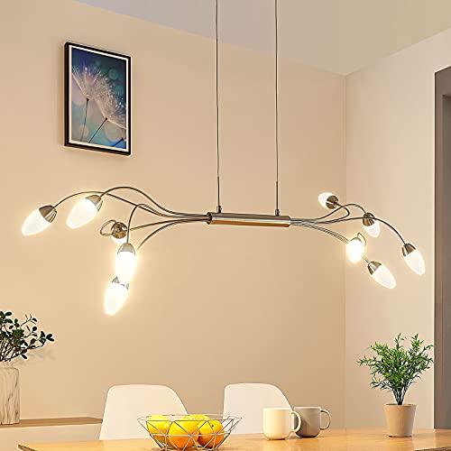 LED Lámpara colgante 'Deyan' (Moderno) en Gris hecho de Metal e.o. para Salón & Comedor (10 llamas, A+) de LAMPENWELT | lámpara colgante LED, lámpara colgante LED, lámpara LED, lámpara de techo