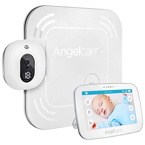Angelcare AC517-Babyphone Vidéo avec Tapis Moniteur de Mouvements sans Fil - Caméra avec Grand Ecran Tactile 13 cm - Affichage de la Température - Blanc