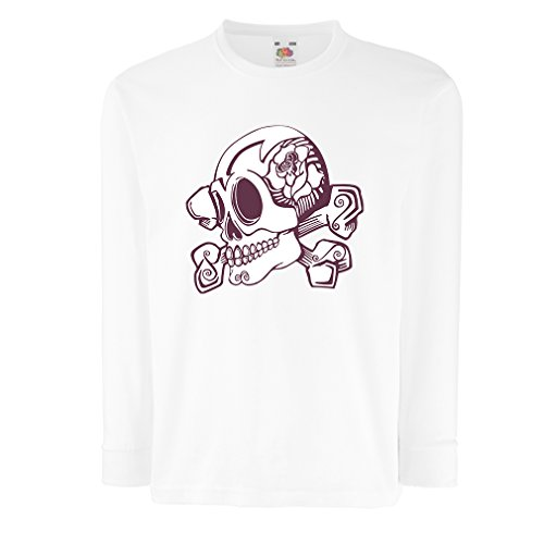 N4603D La Camiseta de los niños con Mangas largas Skull and Bones (9-11 Years Blanco Multicolor)