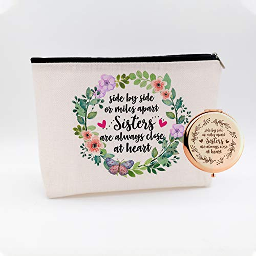 WIEZO-USA Side by Side Or Miles Apart,Gifts for Sister Best Friends,Long Distance Friendship Gift,Christmas Birthday Gifts,Waterproof Cosmetic Bag Makeup Bag and Travel Rose Gold Mirror,Set 2 Pcs