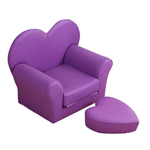JiuErDP Amor Plegable sofá Infantil de Dibujos Animados bebé Princesa Corona bebé jardín de Infantes combinación Mini con Taburete sofá pequeño (Color : Purple)