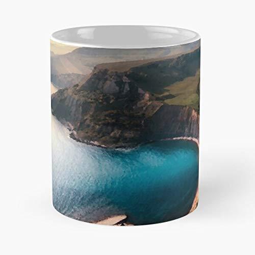 FashionNut Ocean Aerial Hawaii Landscape Oil Cliffs Beach Coast Essen Sie Essen Biss John Best 11oz Unze weiße Keramik Kaffeebecher