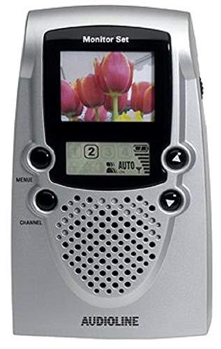 AUDIOLINE Monitor-Set Schnurlose Video-Überwachungseinheit mit Farbmonitor, Nachtsichttechnik und 3 Sendekanäle