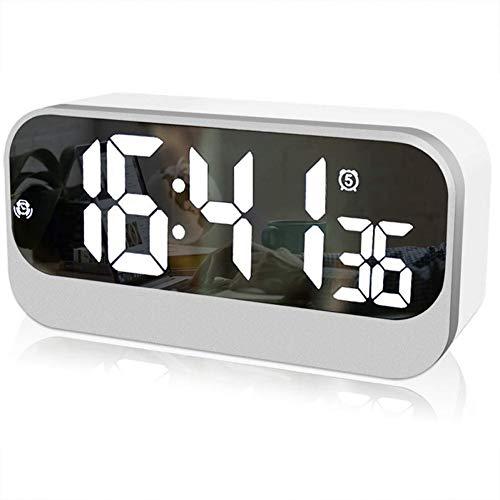 NZNZ Wecker Digitaler Wecker mit Spiegel-Wecker Helligkeit einstellbar Sekundenanzeige LED-Uhr