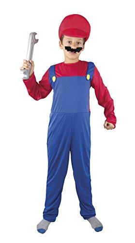 P'tit Clown - 60360 - Costume ado Plombier Rouge/Bleu - 140/160 cm - Taille Unique