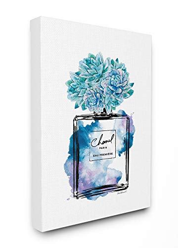 Stupell Industries Watercolor Fashion Perfume Bottle with Blue Flowers Canvas Wall Art, 16 x 20, Multi-Color