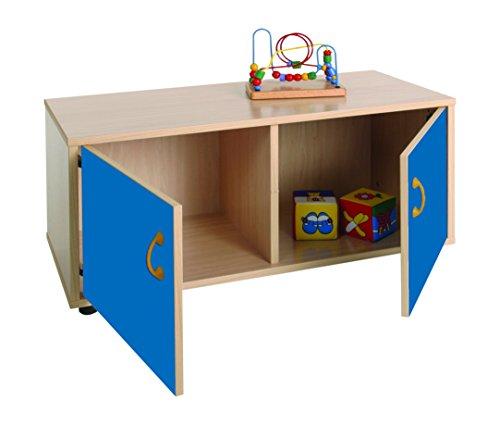Mobeduc 600106HPS20-Mobiletto per bambini superbajo/armadio a 2 parti, in legno, colore: blu scuro/faggio, dimensioni 90 x 40 x 44 cm