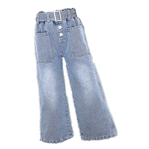 Vaqueros de Mezclilla de Pierna Ancha para niñas con cinturón Pantalones de Campana para niños Vaqueros de niña Ancha de Color Negro Azul