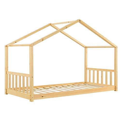 ArtLife Kinderbett Paulina 90 x 200 cm mit Lattenrost und Dach - Bett für Kinder aus massivem Holz - Hausbett in Natur