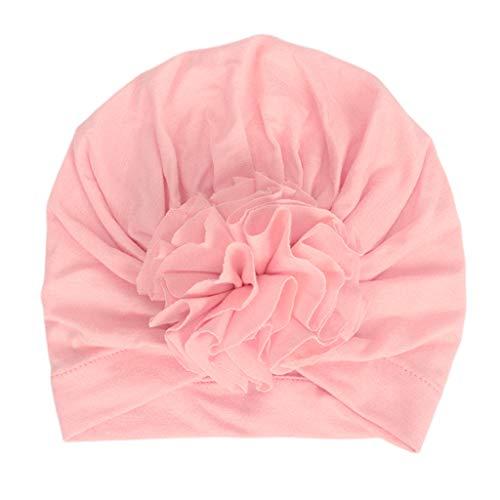 suoryisrty Beanies Neugeborenes Baby Baumwolle Turban Hut Plissee zerknitterte weiche Headwrap niedliche Blume Kleinkind Beanie Cap Foto Requisiten Pink