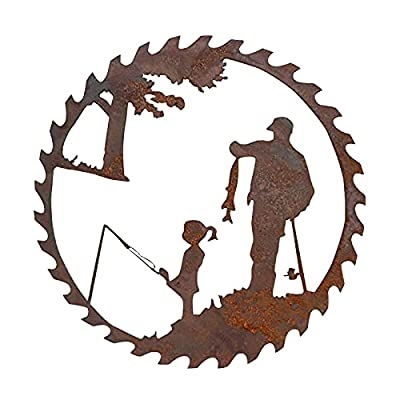 2021 Father's Day Unique Gift Metal Art Fishing Wall Decor, Creative Metal Art Fishing Design Pendant Crafts - Father's Day Gift from Daughter and Son- Home Garden Decoration (A)
