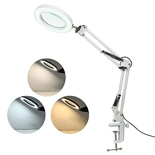 Lámpara con lupa de 8 aumentos, lámpara de escritorio con pinza para esteticista, lámpara de trabajo con abrazadera, ajuste continuo, modalidades de 3 colores LT169