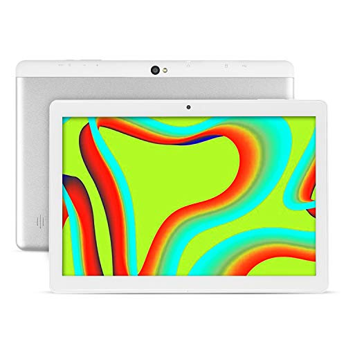Tablet 10.1 Inch Android 9.0 Tablets with 4GB RAM + 64GB ROM 2MP + 5MP Camera, WiFi, Bluetooth, GPS, Four Cores, 1280 x 800 HD Touch Sensitive Screen - 6000mAh Battery (White)