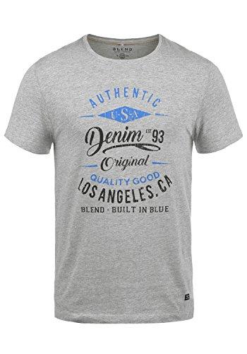 Blend Doppler Herren T-Shirt Kurzarm Shirt Mit Print Und Rundhalsausschnitt Aus 100% Baumwolle, Größe:M, Farbe:Stone Mix (70813)