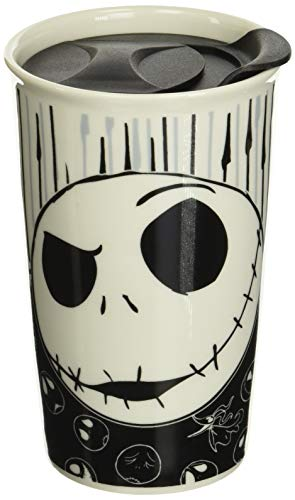 Silver Buffalo Disney Nightmare Before Christmas Jack with Bones Ceramic Travel Mug, 10-Ounces, black and white